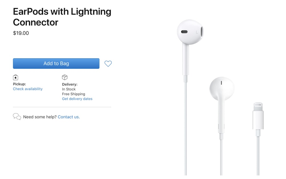 Apple cuts prices on EarPods and its iPhone power adapter by $10