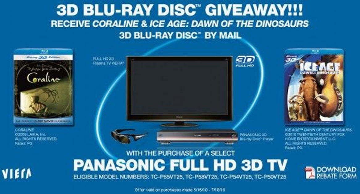 Panasonic Sweetens The 3dtv Deal With Coraline Ice Age Dawn Of The Dinosaurs 3d Blu Rays Engadget