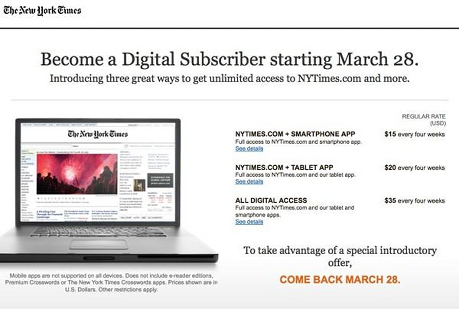 New York Times Reveals Labyrinthine Subscription Plans Canadian Readers Already Hitting Paywall Engadget