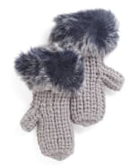 SURELL Chunky Knit Mittens With Faux Fur