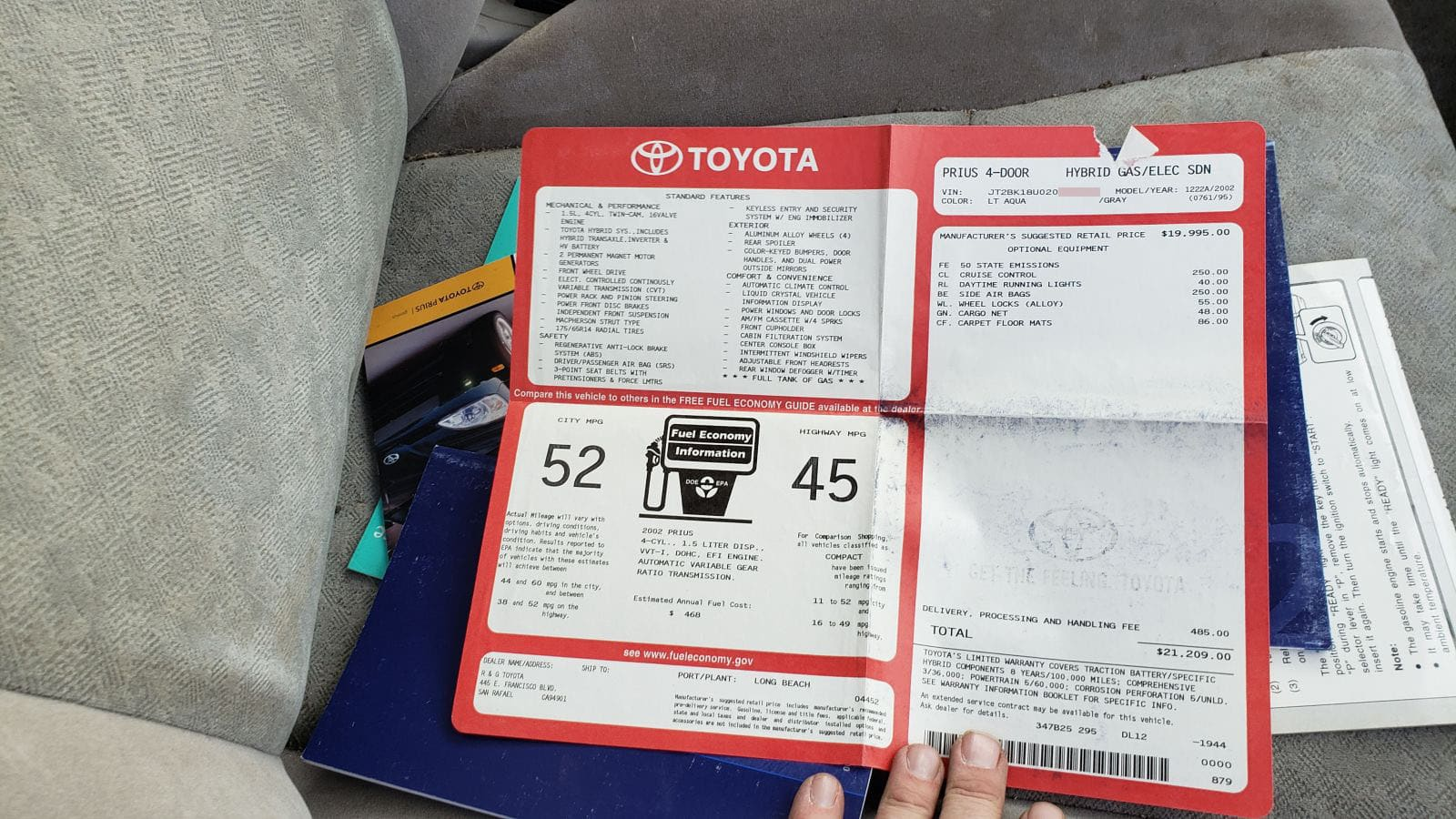 Junked 2002 Toyota Prius