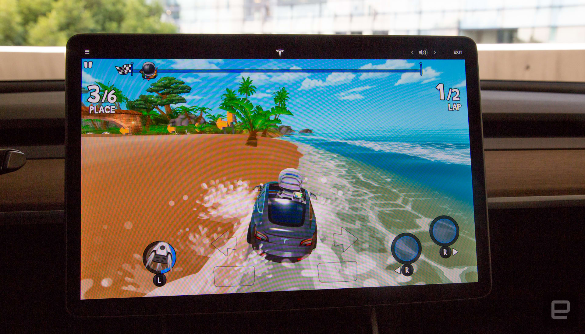 Beach Buggy Racing 2 in a Tesla