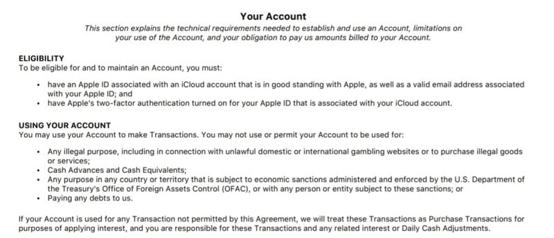 Apple Card customer agreement: use two-factor, no jailbreaking
