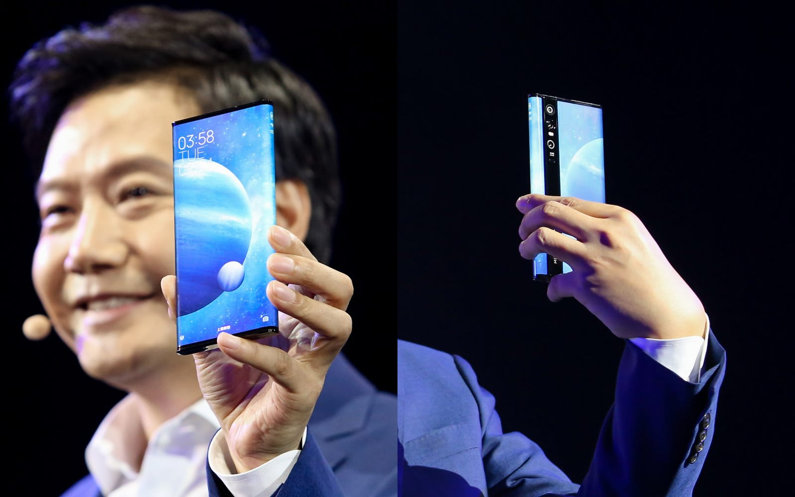 Xiaomi CEO Lei Jun holding the Mi Mix Alpha
