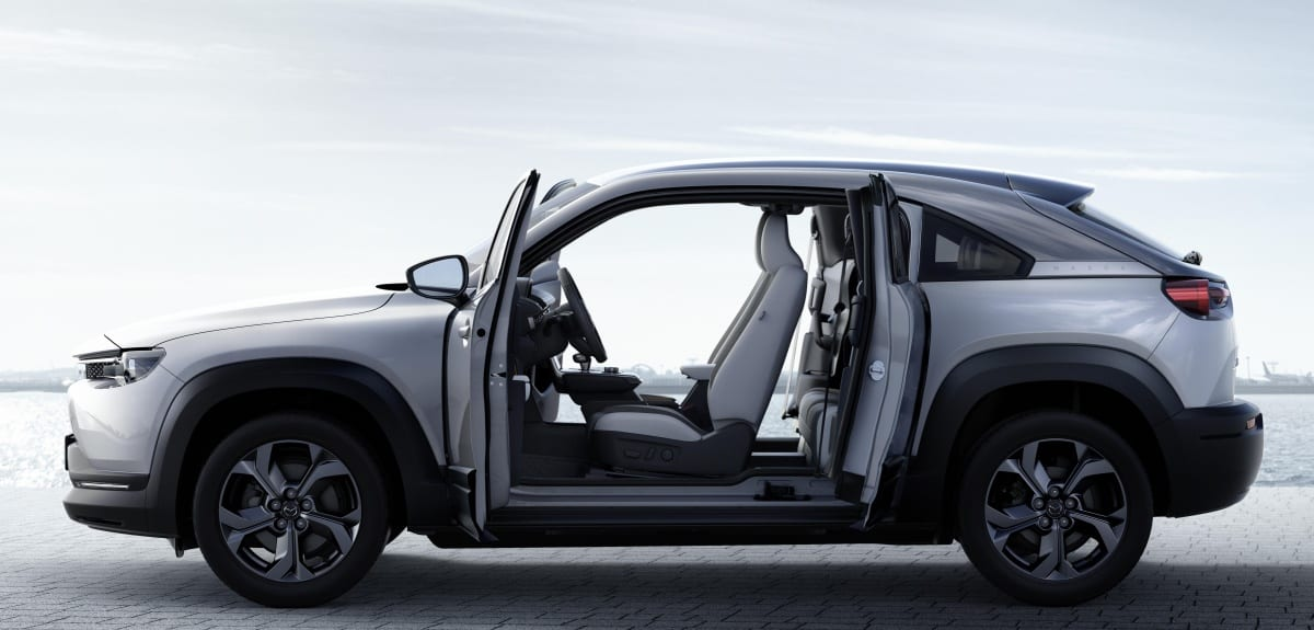 Mazda's first electric car adds Freestyle doors to open all the way up
