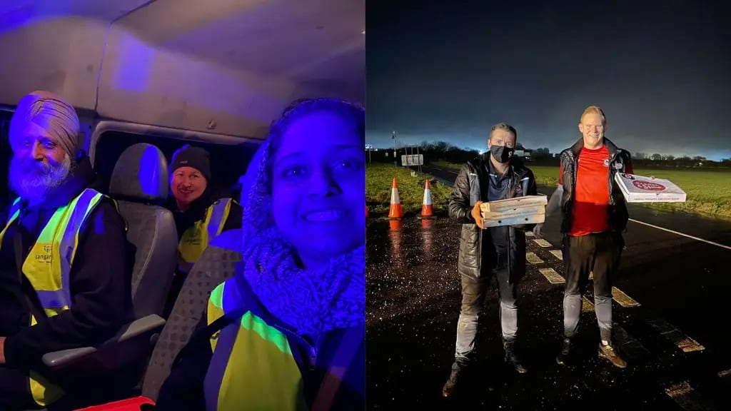 Sikh volunteers and local football club deliver meals to stranded lorry drivers