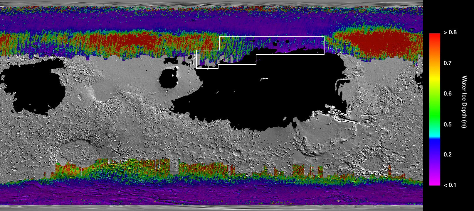 Map of underground water ice on Mars