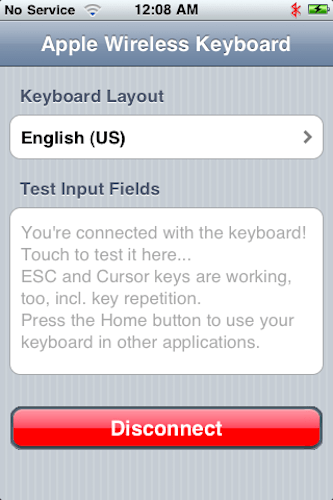 Using a Wireless Keyboard with an iPhone using BTstack Keyboard