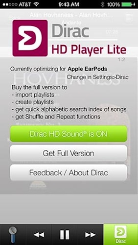 Daily iPhone App: Dirac HD Player can improve the Apple