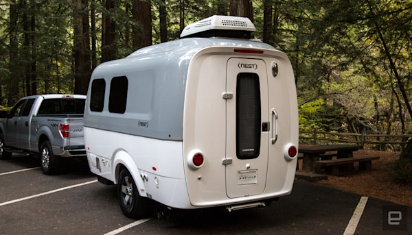 Airstream's Nest is a cozy, futuristic trailer