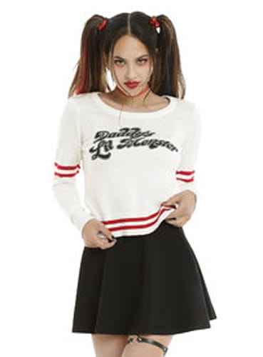 DC COMICS SUICIDE SQUAD HARLEY QUINN DADDY'S LIL MONSTER GIRLS SWEATER