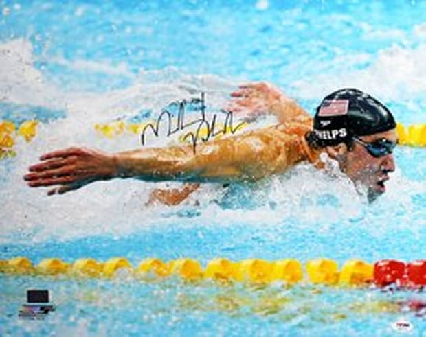 Michael Phelps signed autographed swimming butterfly black cap 16x20