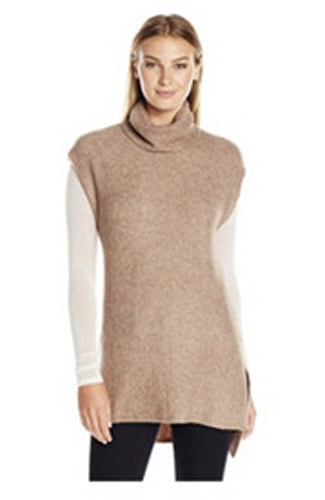 Lark & Ro Soft Cowl-Neck Tunic with Side Slits