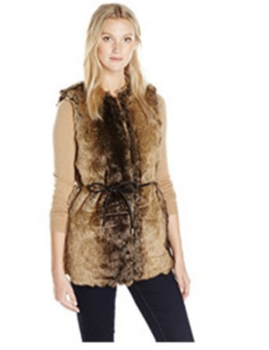 Vero Moda Faux Fur Vest with Tie At Waist