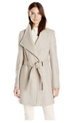 Calvin Klein Wool Wrap Coat with Detachable Belt