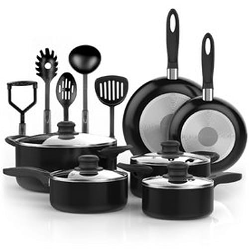 15 Piece Nonstick Cookware Set with Cooking Utensils