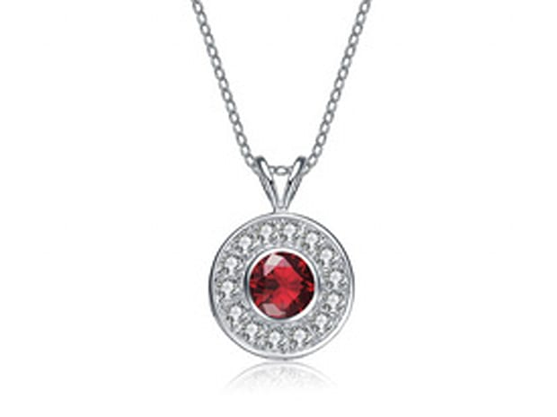 Sterling Silver Plated Round Bezel Pendant