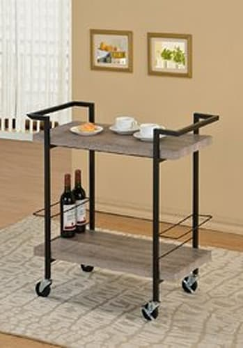 Wood Black Metal Bar Cart with Wine Holder