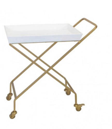 Gold Metal and White Wood Rolling Bar Cart