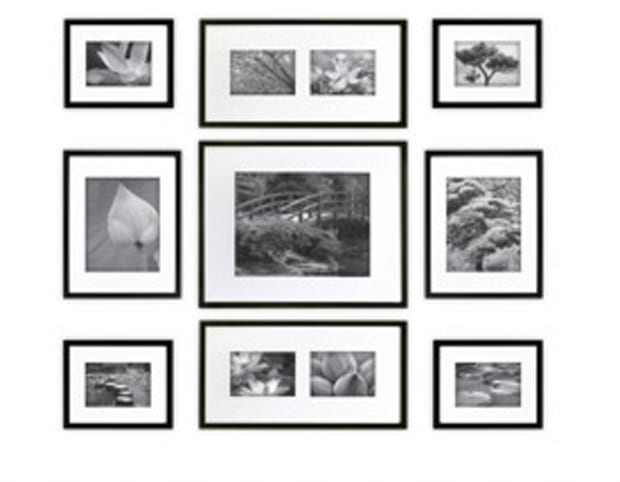 gallery perfect 9 piece multi size wall frame set black - White Picture Frame Set