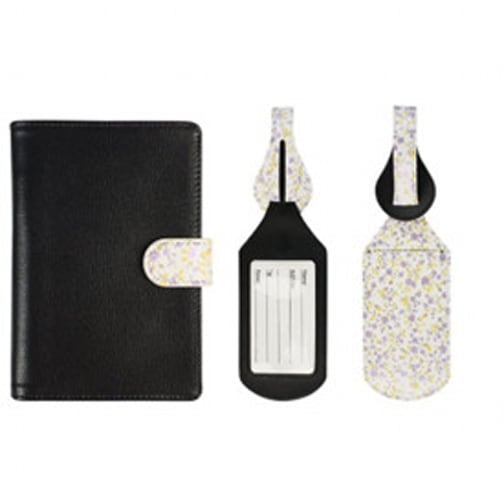 Black Leather Floral Passport Holder with Luggage Tags