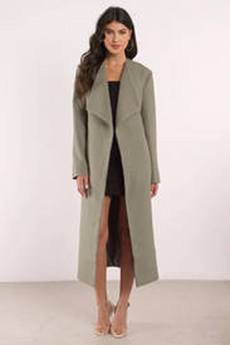 TOBI Finders Keepers Pyramids Olive Trench Coat
