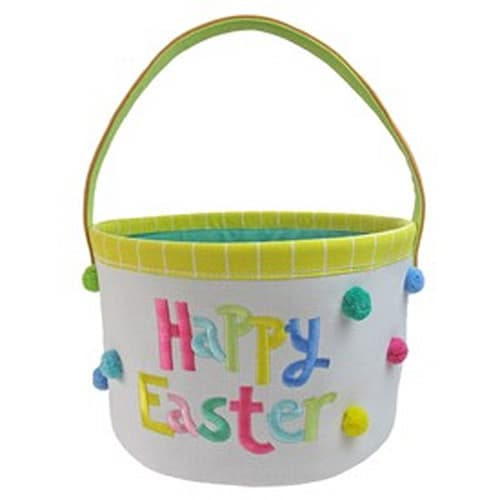 'Happy Easter' White Canvas Basket