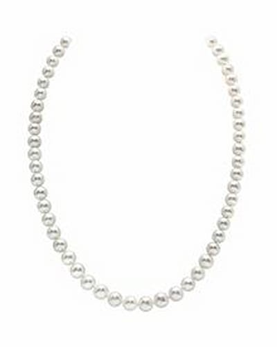 AAA Quality Round White Freshwater Cultured Pearl Necklace