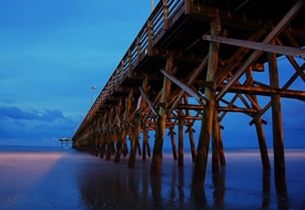 Pier Tranquil Scene, Connection, Architecture, Nature, Travel Destinations, Horizontal, Outdoors, Pier, USA, Cloud, Dusk, Reflection, Sea, Beach, South Carolina, No People, Photography, Myrtle Beach.