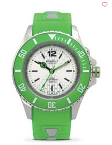 KYBOE! Neon Green Silicone & Stainless Steel Strap Watch/40MM,