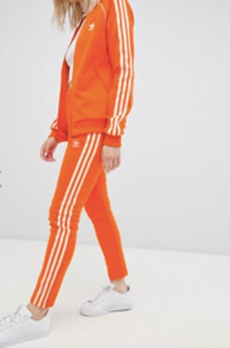 Adidas Originals Three Stripe Cigarette Pants In Orange