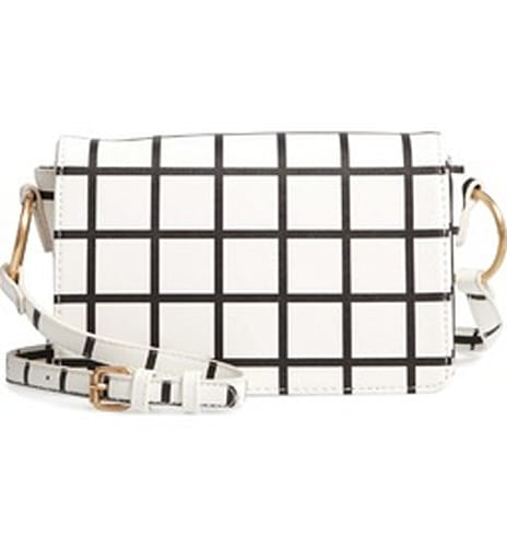 BP. Windowpane Check Faux Leather Crossbody Bag