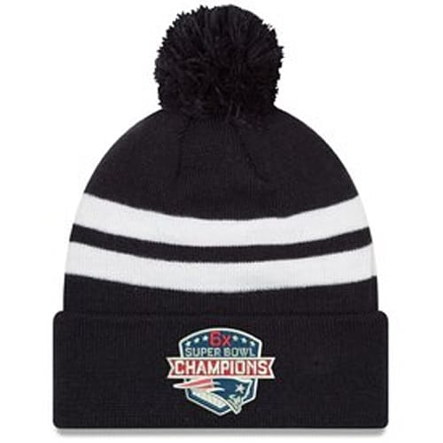 Men s New England Patriots New Era Navy 6-Time Super Bowl Champions Top  Stripe Pom Knit Hat ed1b3b45f