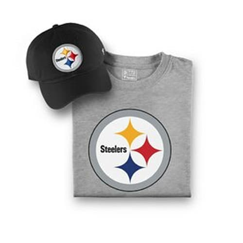 Men s Pittsburgh Steelers NFL Pro Line by Fanatics Branded Black Gray  T-Shirt and Hat Bundle e75bd3abd