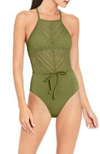 Robin Piccone, Perla High Neck one-piece in Moss