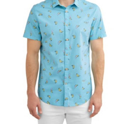 Patterned short-sleeve button-down