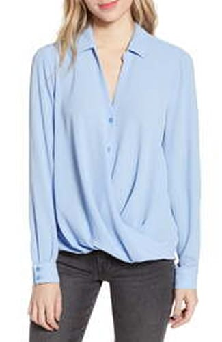 All in Favor Patterned Drape Blouse, $29.40