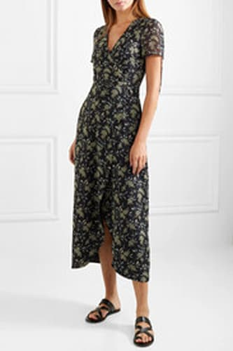MADEWELL Wrap-effect floral georgette maxi dress