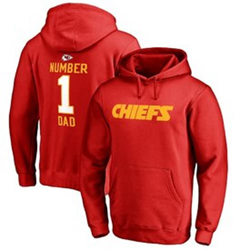 Men's Kansas City Chiefs NFL Pro Line Red Number 1 Dad Pullover Hoodie