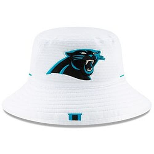 sale retailer 3bb39 e3570 Men s Carolina Panthers New Era White 2019 NFL Training Camp Official  Bucket Hat
