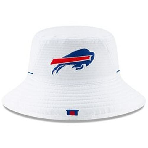 size 40 22304 92525 Men s Buffalo Bills New Era White 2019 NFL Training Camp Official Bucket Hat
