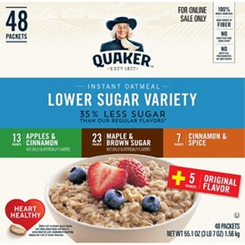 Quaker Lower Sugar Instant Oatmeal, 48 Packets