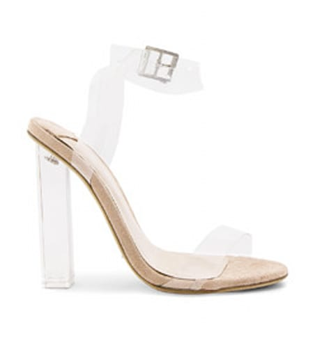 Clear heels sold on Revolve