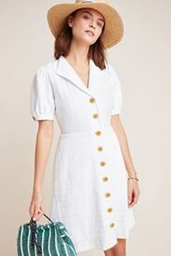 Collared Button-Front Dress