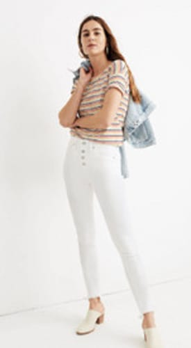 """Madewell 10"""" High-Rise Skinny Jeans in Pure White"""