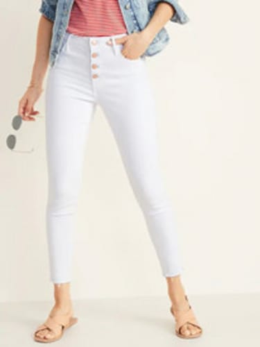 Old Navy High-Rise Secret-Slim Pockets Button-Fly Raw-Edge Ankle Jeans