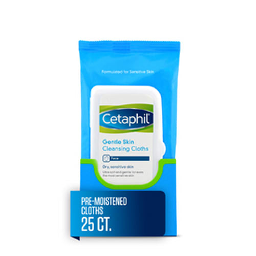 Cetaphil Gentle Skin Cleansing Cloths, Face Wipes For Dry / Sensitive Skin, 25 ct