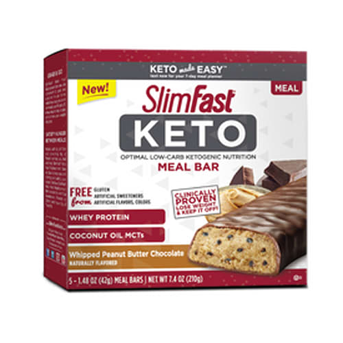 SlimFast Keto Meal Replacement Bar, Whipped Peanut Butter Chocolate