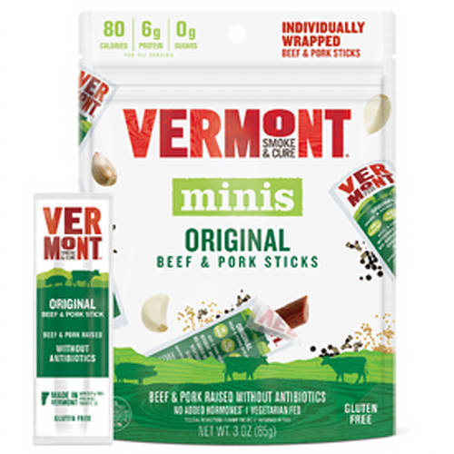 Vermont Smoke & Cure Minis Beef & Pork Sticks Cracked Pepper