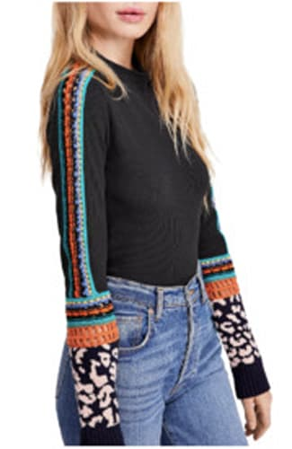 Free People, Switch It Up Crochet-Trim Thermal Top